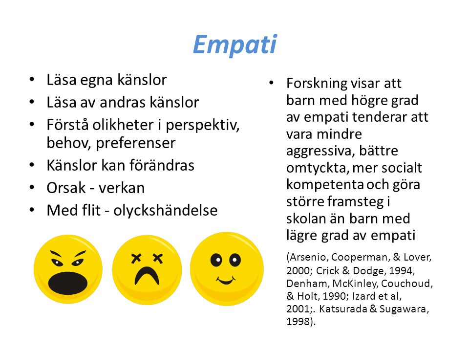 Empati Läsa egna känslor Läsa av andras känslor Förstå olikheter i perspektiv, behov, preferenser Känslor kan förändras Orsak - verkan Med flit - olyc