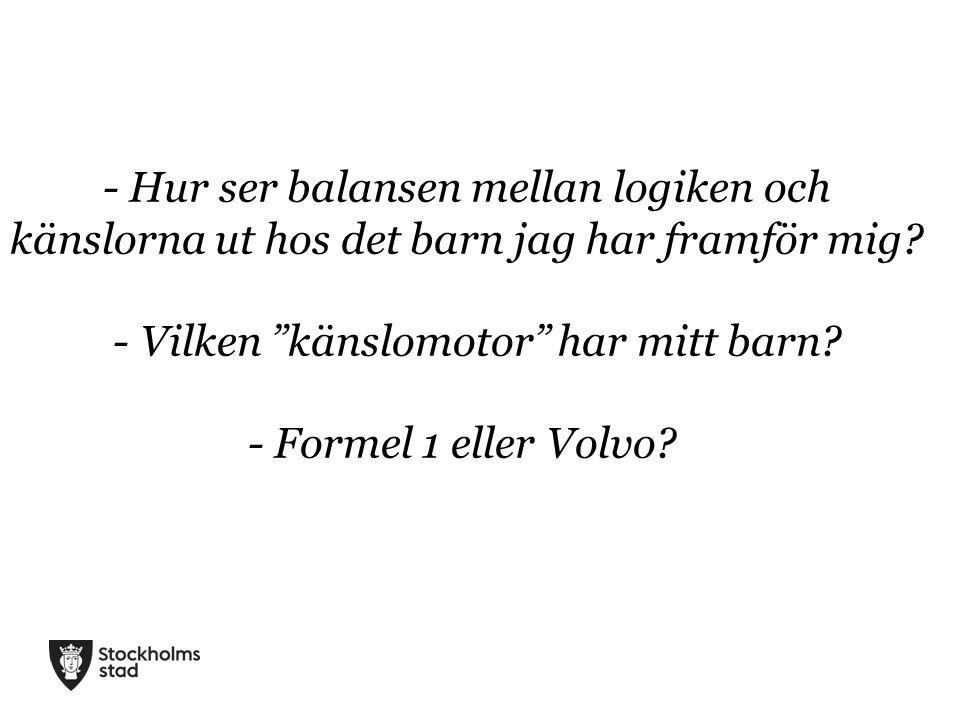 """- Hur ser balansen mellan logiken och känslorna ut hos det barn jag har framför mig? - Vilken """"känslomotor"""" har mitt barn? - Formel 1 eller Volvo?"""