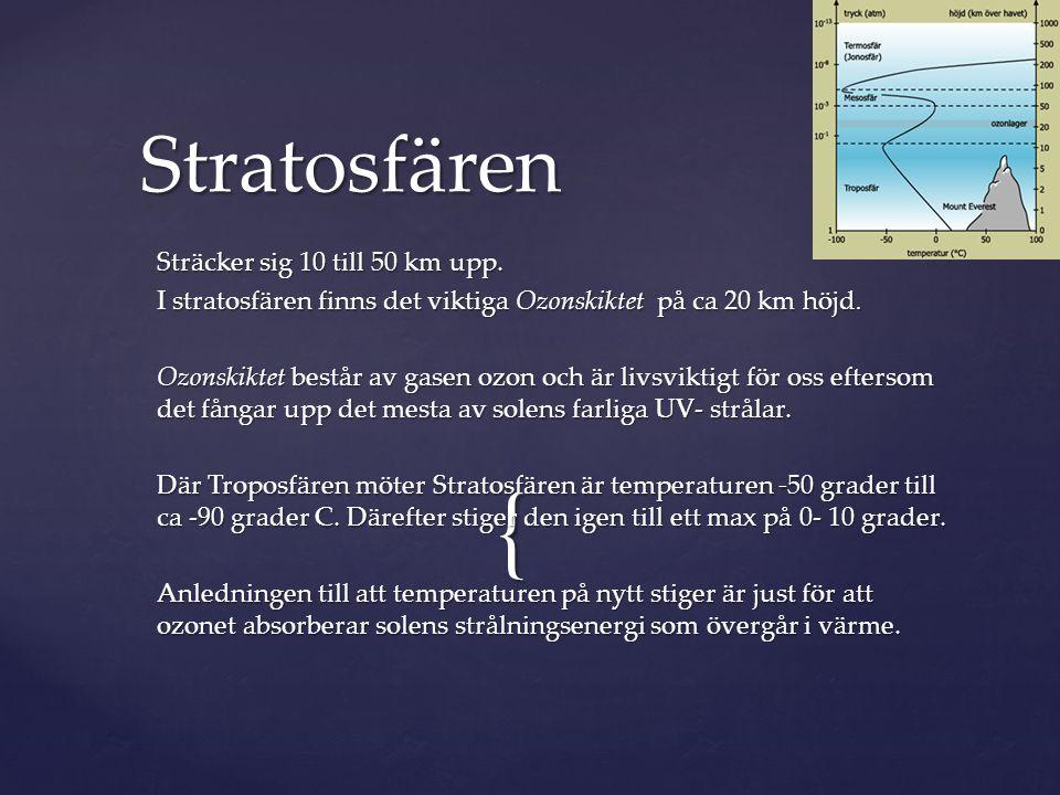 { Sträcker sig 10 till 50 km upp. I stratosfären finns det viktiga Ozonskiktet på ca 20 km höjd. Ozonskiktet består av gasen ozon och är livsviktigt f