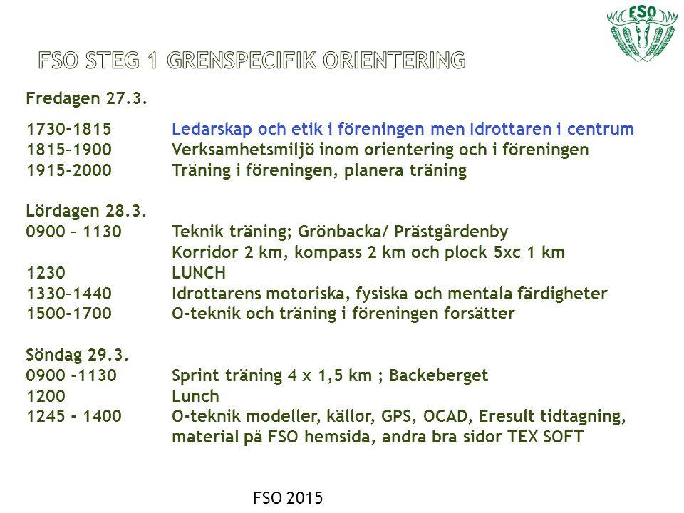 - Undervisningen baserar sig på - SSL utbildningsmaterial /STG 1 - SOFT böcker - Orientera för att ha kul 6-13 år - Orientera För att lära sig att träna – 16 år - Orientera för att tävla - Idrottsledare för barn och ungdom - FSI och FSO utbildningsmaterial - FSO eget material - Kartor - OK77, Borgå stad, OK Orient, IF Minken, OK Raseborg, NYLBR och några andra