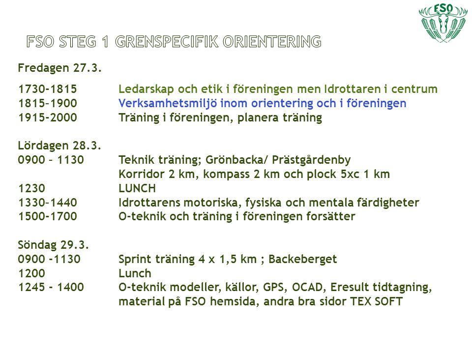 Fredagen 27.3. 1730-1815 1815–1900 1915-2000 Lördagen 28.3.