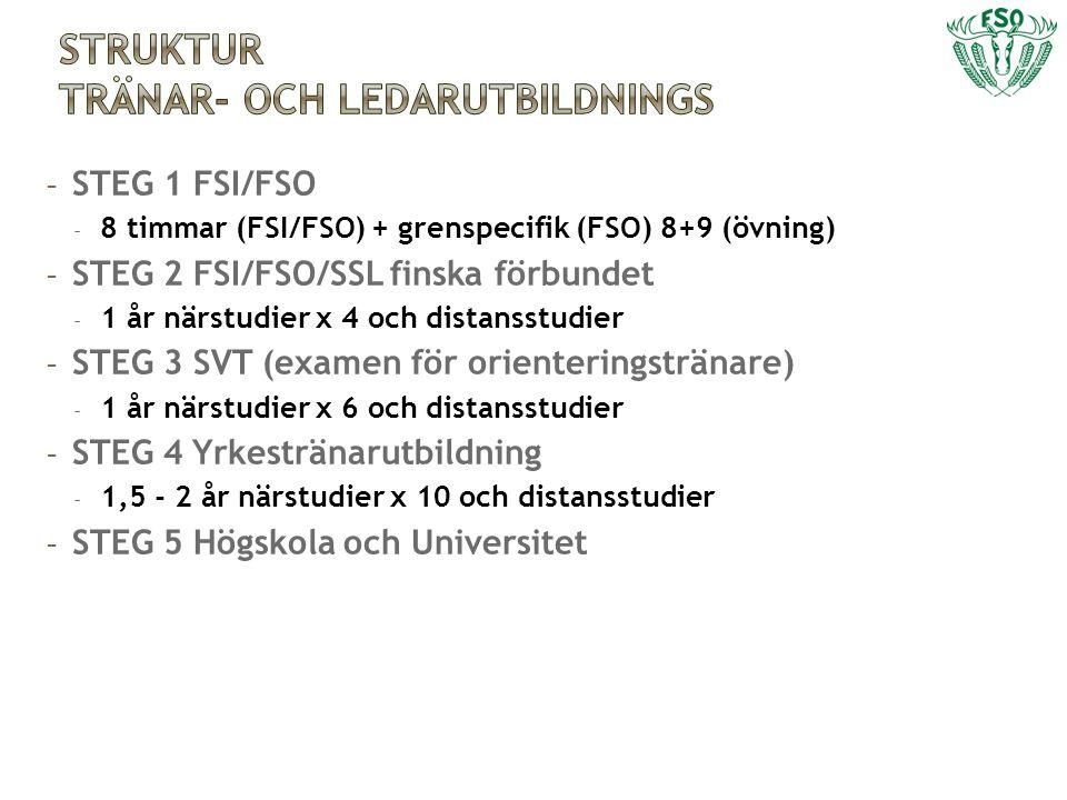 - STEG 1 FSI/FSO - 8 timmar (FSI/FSO) + grenspecifik (FSO) 8+9 (övning) - STEG 2 FSI/FSO/SSL finska förbundet - 1 år närstudier x 4 och distansstudier - STEG 3 SVT (examen för orienteringstränare) - 1 år närstudier x 6 och distansstudier - STEG 4 Yrkestränarutbildning - 1,5 - 2 år närstudier x 10 och distansstudier - STEG 5 Högskola och Universitet