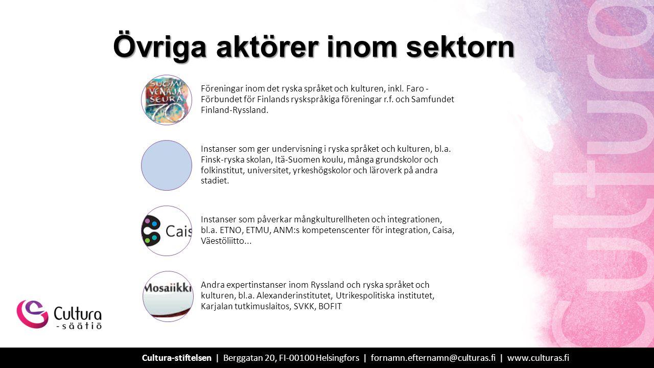 Övriga aktörer inom sektorn Föreningar inom det ryska språket och kulturen, inkl.