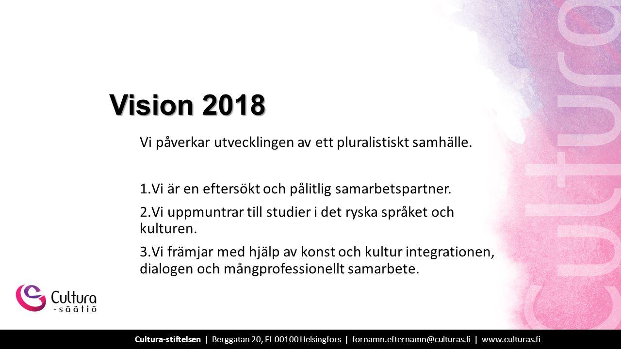 Vi är en expertorganisation med ett brett nätverk vars aktiva verksamhet stärker i synnerhet den ryskspråkiga befolkningsgruppens identitet och integration samt främjar kunskaperna om och utvecklingen av studier i ryska språket och den ryska kulturen i Finland.