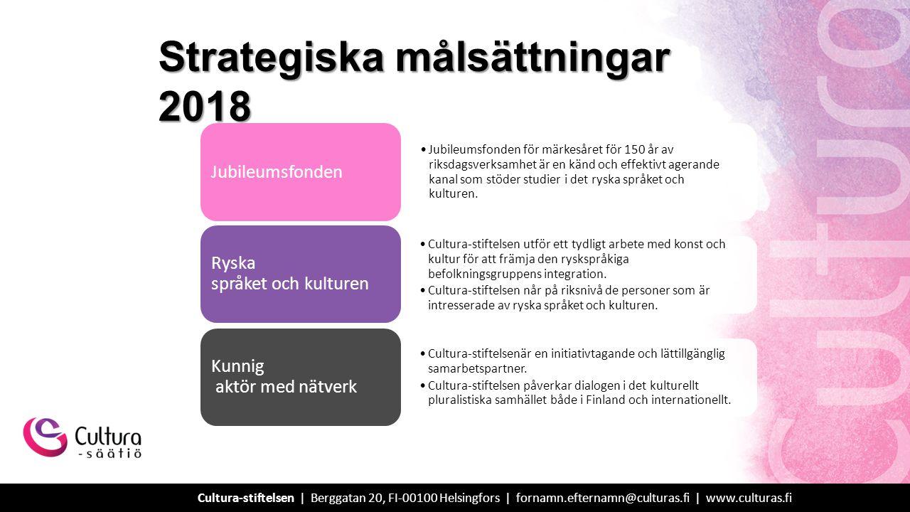 Strategiska målsättningar 2018 Jubileumsfonden för märkesåret för 150 år av riksdagsverksamhet är en känd och effektivt agerande kanal som stöder studier i det ryska språket och kulturen.