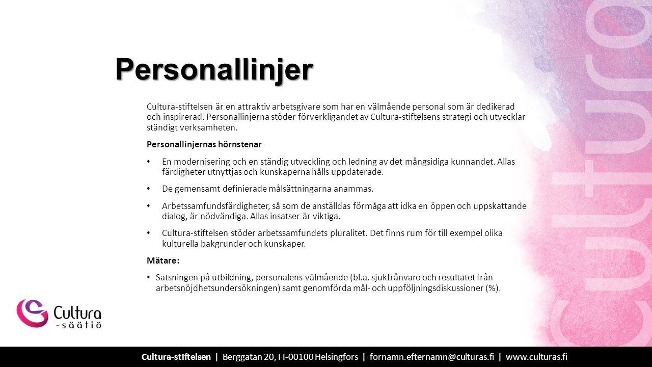 Cultura-stiftelsen är en attraktiv arbetsgivare som har en välmående personal som är dedikerad och inspirerad.