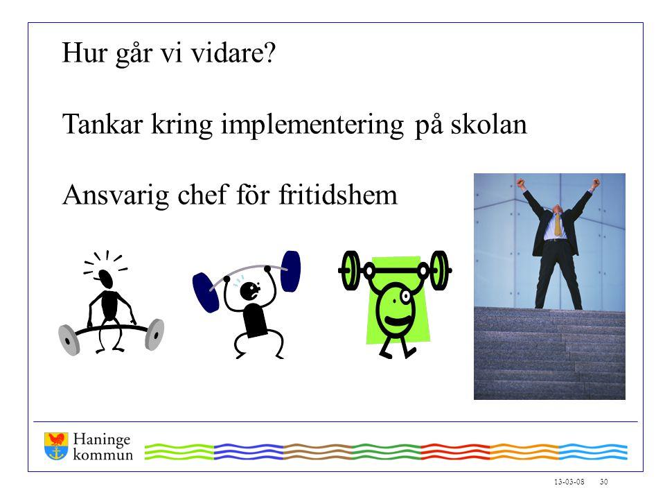 13-03-08 30 Hur går vi vidare Tankar kring implementering på skolan Ansvarig chef för fritidshem