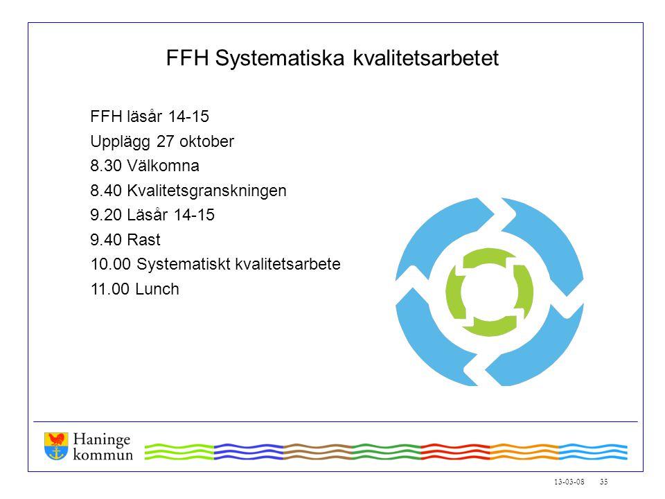 13-03-08 35 FFH Systematiska kvalitetsarbetet FFH läsår 14-15 Upplägg 27 oktober 8.30 Välkomna 8.40 Kvalitetsgranskningen 9.20 Läsår 14-15 9.40 Rast 10.00 Systematiskt kvalitetsarbete 11.00 Lunch