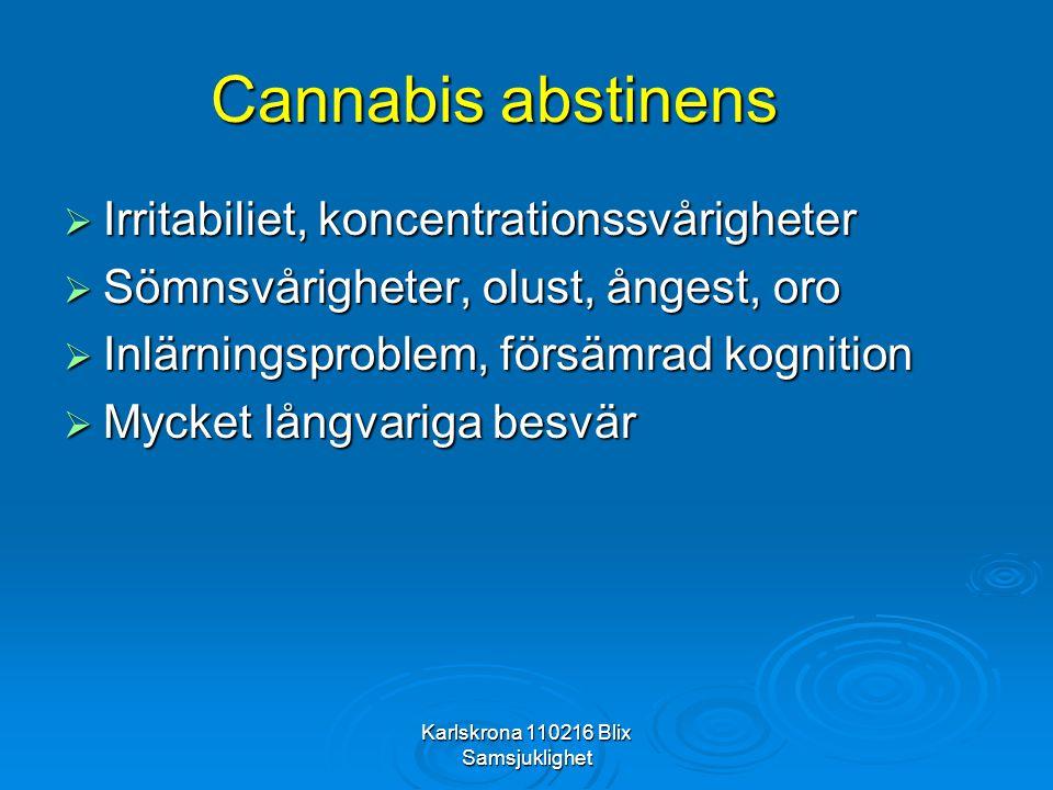 Karlskrona 110216 Blix Samsjuklighet Cannabis abstinens  Irritabiliet, koncentrationssvårigheter  Sömnsvårigheter, olust, ångest, oro  Inlärningspr