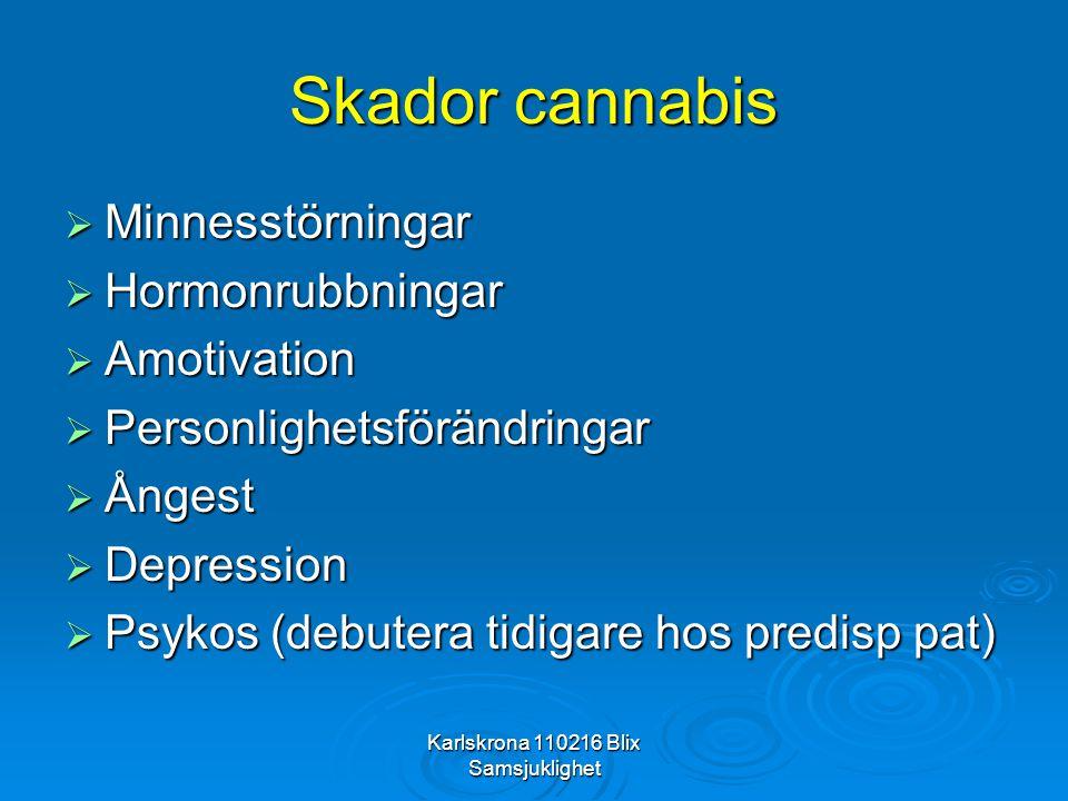 Karlskrona 110216 Blix Samsjuklighet Skador cannabis  Minnesstörningar  Hormonrubbningar  Amotivation  Personlighetsförändringar  Ångest  Depres