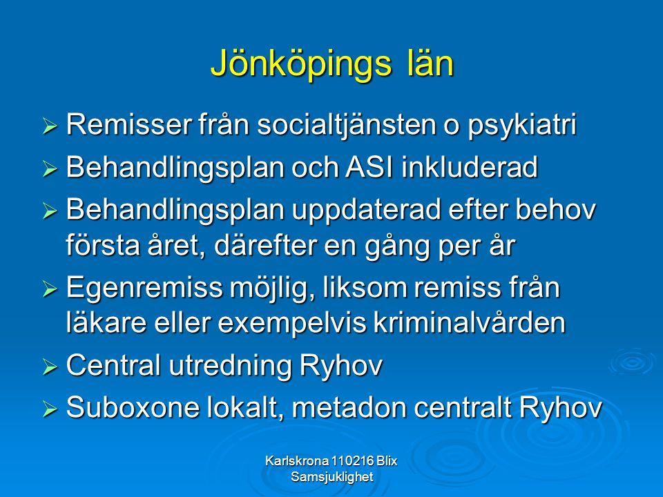 Karlskrona 110216 Blix Samsjuklighet Jönköpings län  Remisser från socialtjänsten o psykiatri  Behandlingsplan och ASI inkluderad  Behandlingsplan