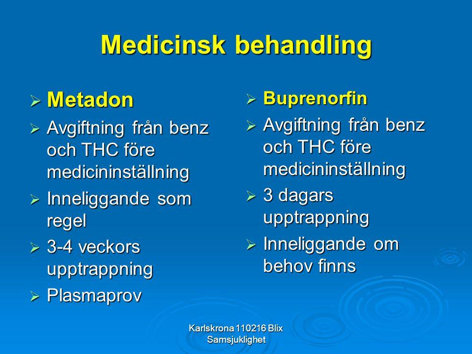 Karlskrona 110216 Blix Samsjuklighet Medicinsk behandling  Metadon  Avgiftning från benz och THC före medicininställning  Inneliggande som regel 