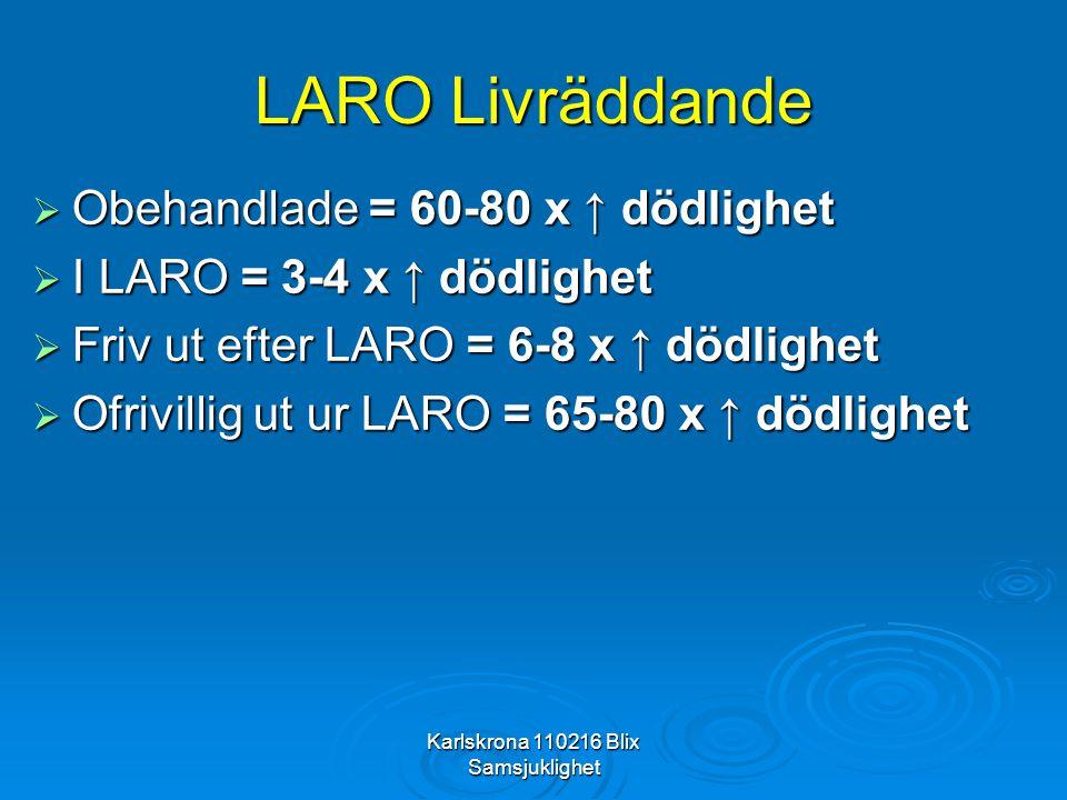 Karlskrona 110216 Blix Samsjuklighet LARO Livräddande  Obehandlade = 60-80 x ↑ dödlighet  I LARO = 3-4 x ↑ dödlighet  Friv ut efter LARO = 6-8 x ↑