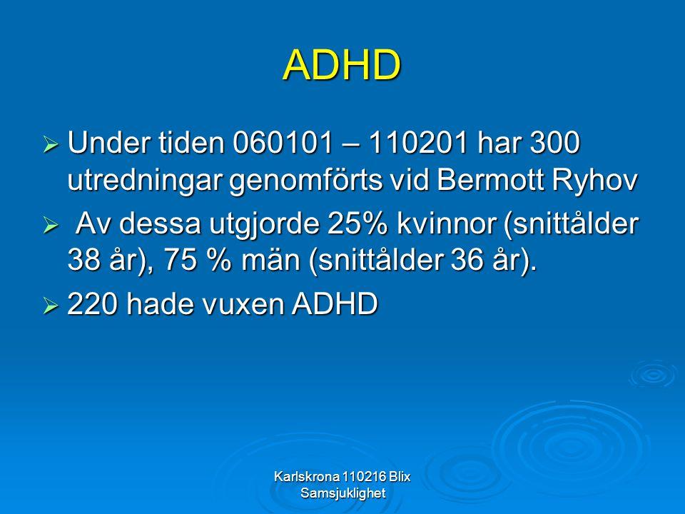 Karlskrona 110216 Blix Samsjuklighet ADHD  Under tiden 060101 – 110201 har 300 utredningar genomförts vid Bermott Ryhov  Av dessa utgjorde 25% kvinn