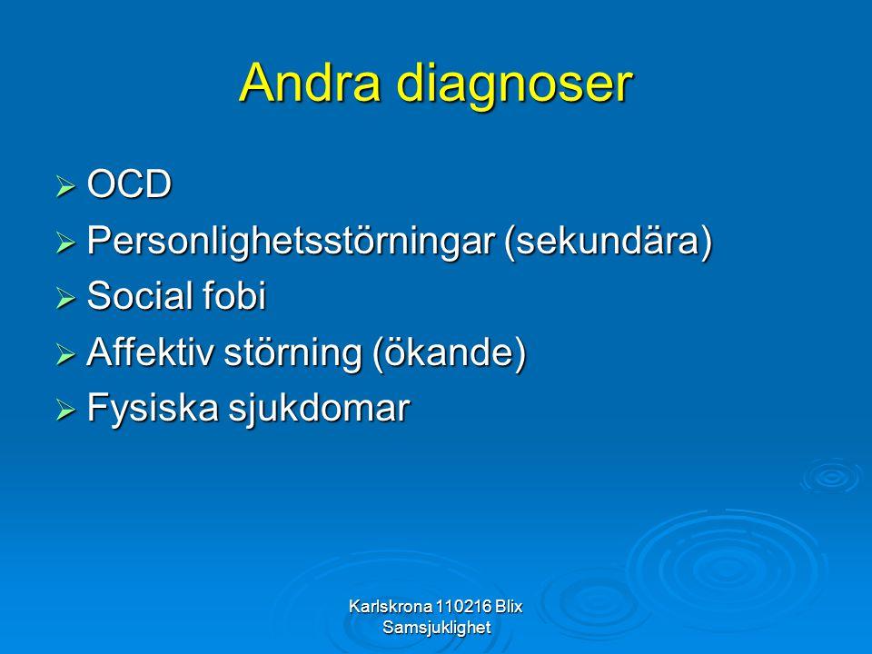 Karlskrona 110216 Blix Samsjuklighet Andra diagnoser  OCD  Personlighetsstörningar (sekundära)  Social fobi  Affektiv störning (ökande)  Fysiska