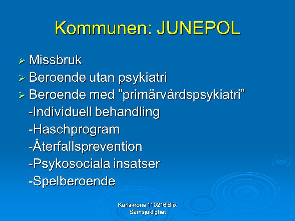 """Karlskrona 110216 Blix Samsjuklighet Kommunen: JUNEPOL  Missbruk  Beroende utan psykiatri  Beroende med """"primärvårdspsykiatri"""" -Individuell behandl"""