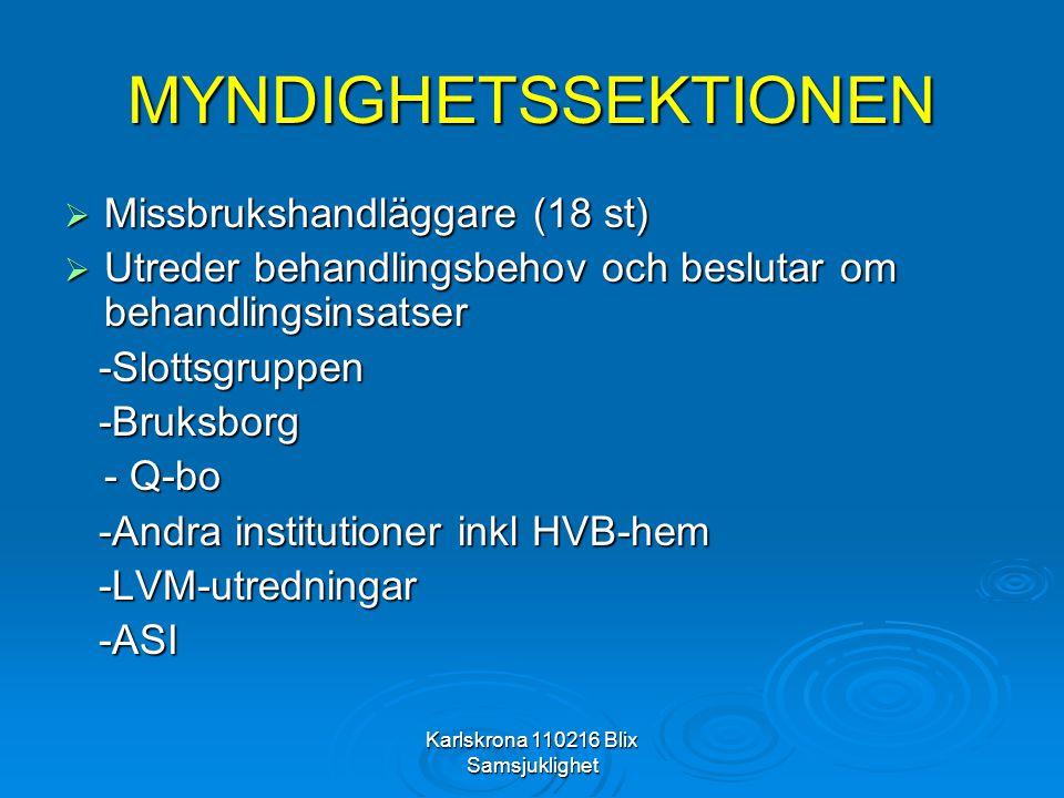 Karlskrona 110216 Blix Samsjuklighet MYNDIGHETSSEKTIONEN  Missbrukshandläggare (18 st)  Utreder behandlingsbehov och beslutar om behandlingsinsatser