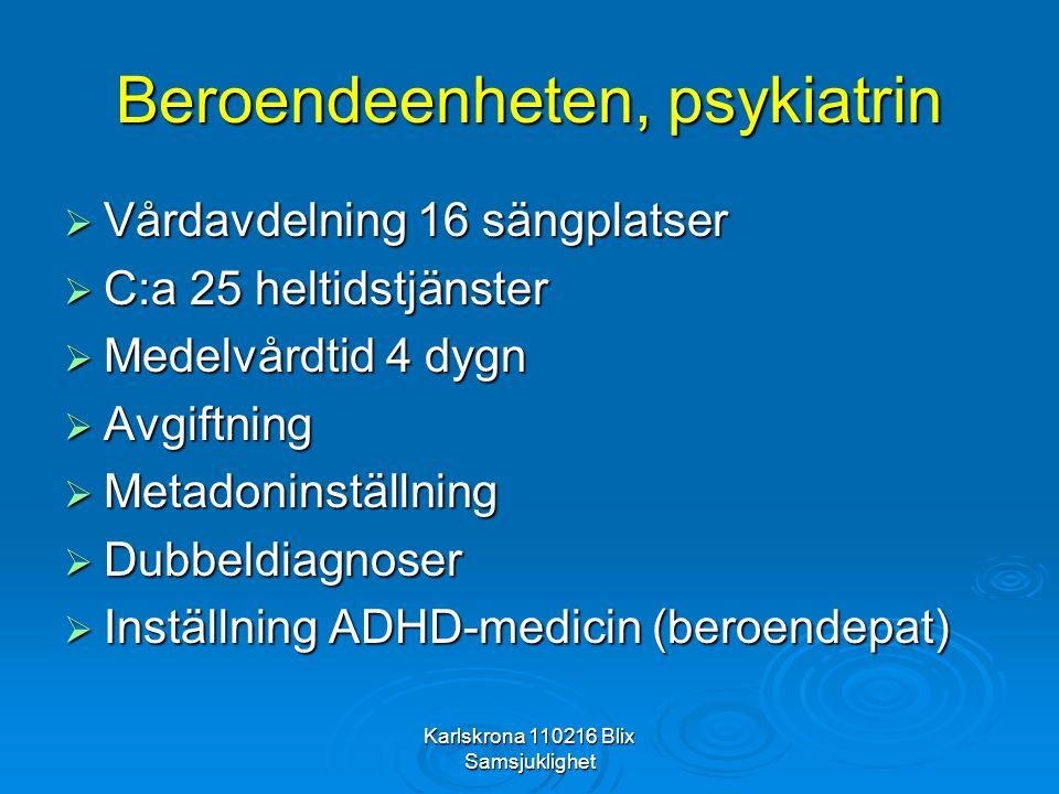 Karlskrona 110216 Blix Samsjuklighet Beroendeenheten, psykiatrin  Vårdavdelning 16 sängplatser  C:a 25 heltidstjänster  Medelvårdtid 4 dygn  Avgif