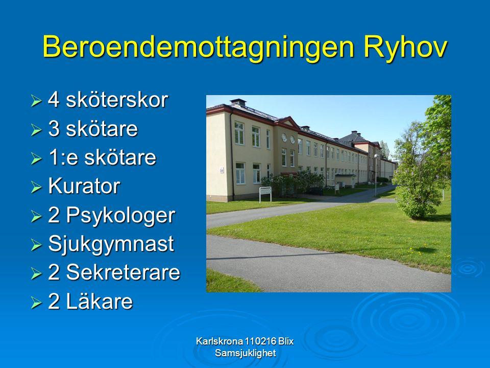 Karlskrona 110216 Blix Samsjuklighet Beroendemottagningen Ryhov  4 sköterskor  3 skötare  1:e skötare  Kurator  2 Psykologer  Sjukgymnast  2 Se