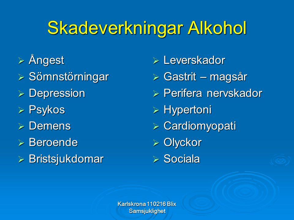 Karlskrona 110216 Blix Samsjuklighet Bensodiazepiner, abstinens  Ångest, oro, irritabilitet; dysfori/nedstämd  Yrsel, kudddkänsla i fotsulorna, tremor  Öronsus/tinnitus, ljudöverkänslig  Koncentrations- och minnessvårigheter  Hjärtklappning, svettning, spända muskler  Depersonalisation, derealisation, konfusion  Kramper – Epilepsi  Ljuskänslig ( solglasögon inne)  Delirium (psykos)