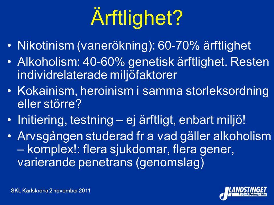 SKL Karlskrona 2 november 2011 Ärftlighet? Nikotinism (vanerökning): 60-70% ärftlighet Alkoholism: 40-60% genetisk ärftlighet. Resten individrelaterad