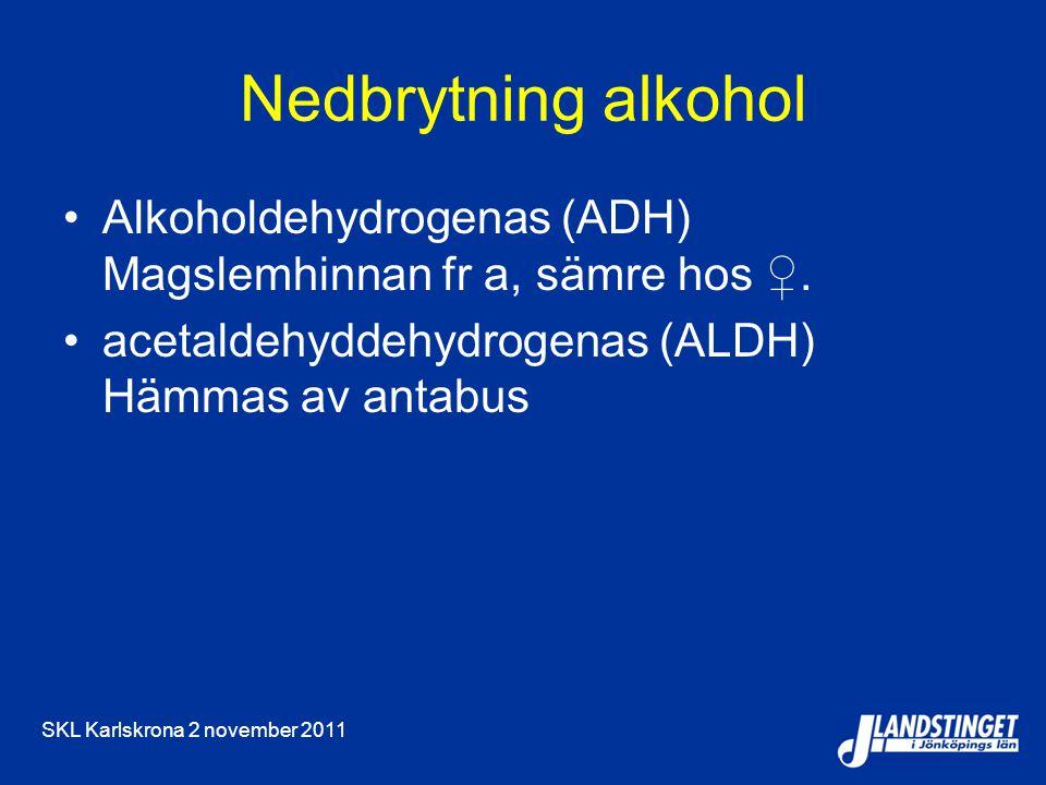 Nedbrytning alkohol Alkoholdehydrogenas (ADH) Magslemhinnan fr a, sämre hos ♀. acetaldehyddehydrogenas (ALDH) Hämmas av antabus