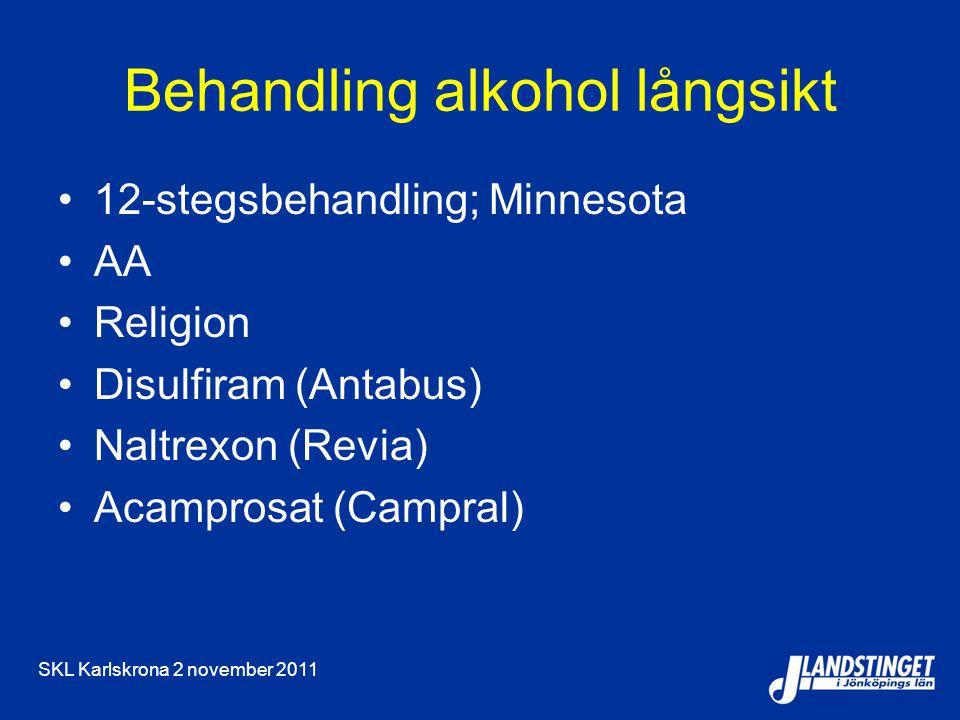 SKL Karlskrona 2 november 2011 Behandling alkohol långsikt 12-stegsbehandling; Minnesota AA Religion Disulfiram (Antabus) Naltrexon (Revia) Acamprosat (Campral)