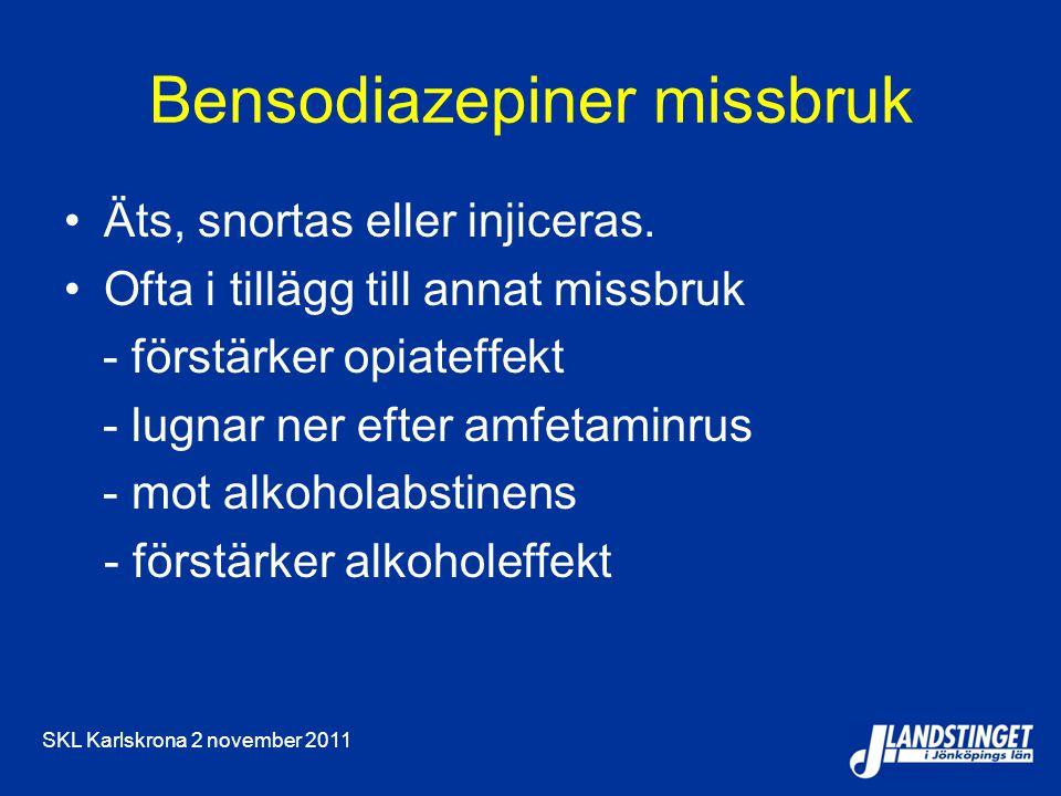 SKL Karlskrona 2 november 2011 Bensodiazepiner missbruk Äts, snortas eller injiceras. Ofta i tillägg till annat missbruk - förstärker opiateffekt - lu