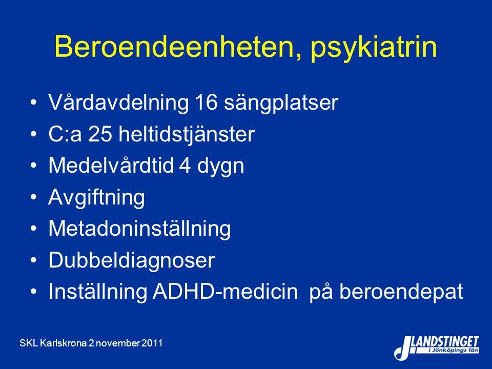 SKL Karlskrona 2 november 2011 Beroendeenheten, psykiatrin Vårdavdelning 16 sängplatser C:a 25 heltidstjänster Medelvårdtid 4 dygn Avgiftning Metadoninställning Dubbeldiagnoser Inställning ADHD-medicin på beroendepat