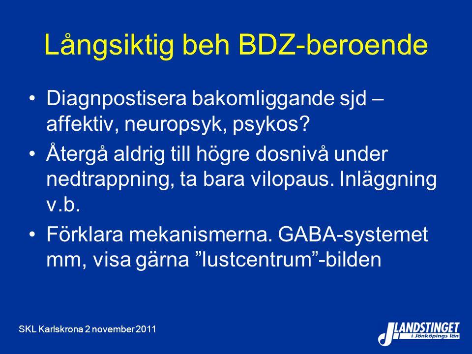 SKL Karlskrona 2 november 2011 Långsiktig beh BDZ-beroende Diagnpostisera bakomliggande sjd – affektiv, neuropsyk, psykos? Återgå aldrig till högre do