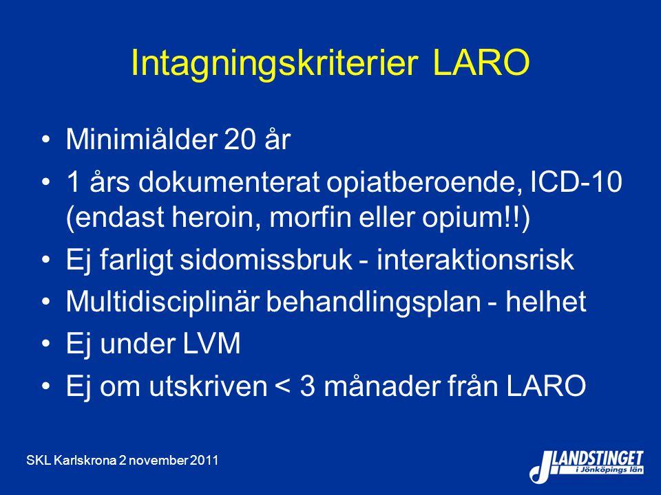 SKL Karlskrona 2 november 2011 Intagningskriterier LARO Minimiålder 20 år 1 års dokumenterat opiatberoende, ICD-10 (endast heroin, morfin eller opium!!) Ej farligt sidomissbruk - interaktionsrisk Multidisciplinär behandlingsplan - helhet Ej under LVM Ej om utskriven < 3 månader från LARO
