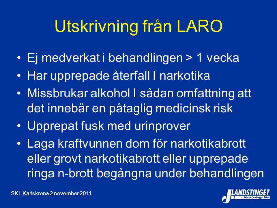SKL Karlskrona 2 november 2011 Utskrivning från LARO Ej medverkat i behandlingen > 1 vecka Har upprepade återfall I narkotika Missbrukar alkohol I såd
