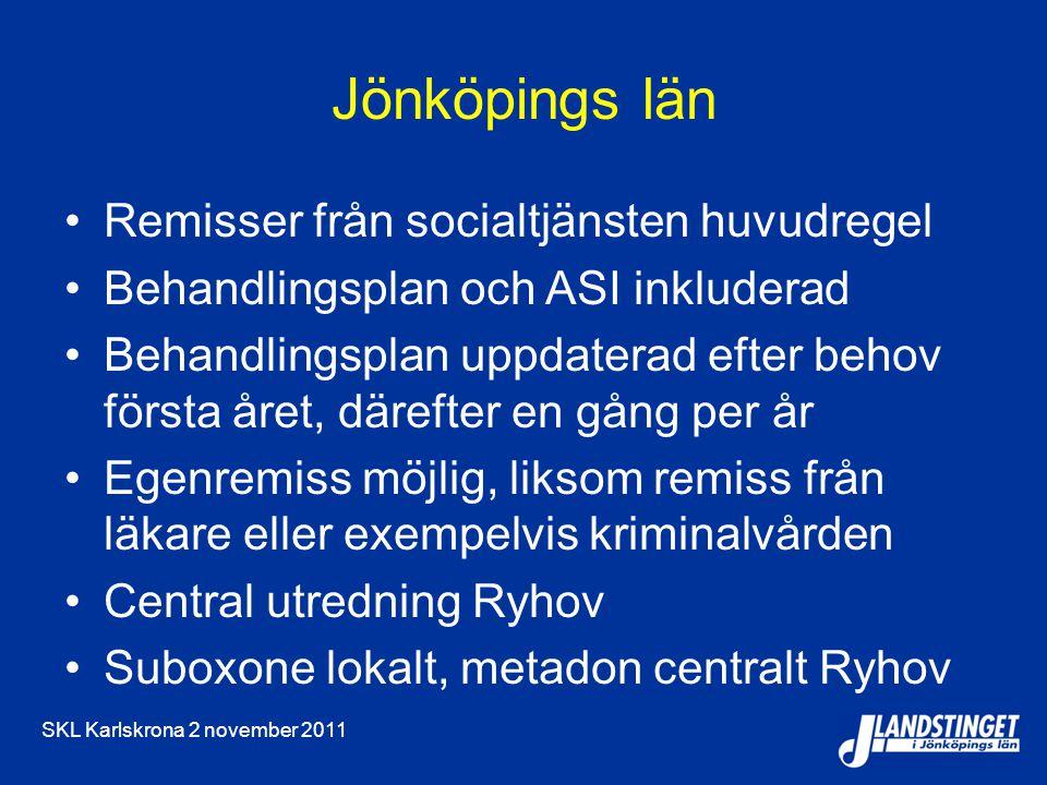 SKL Karlskrona 2 november 2011 Jönköpings län Remisser från socialtjänsten huvudregel Behandlingsplan och ASI inkluderad Behandlingsplan uppdaterad ef
