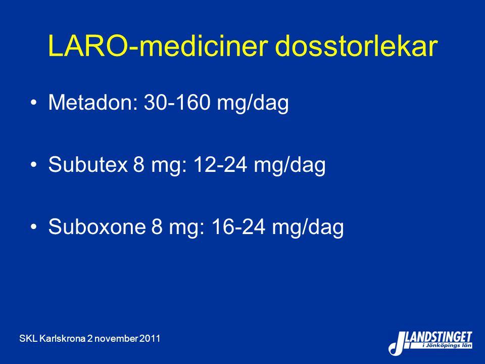 SKL Karlskrona 2 november 2011 LARO-mediciner dosstorlekar Metadon: 30-160 mg/dag Subutex 8 mg: 12-24 mg/dag Suboxone 8 mg: 16-24 mg/dag