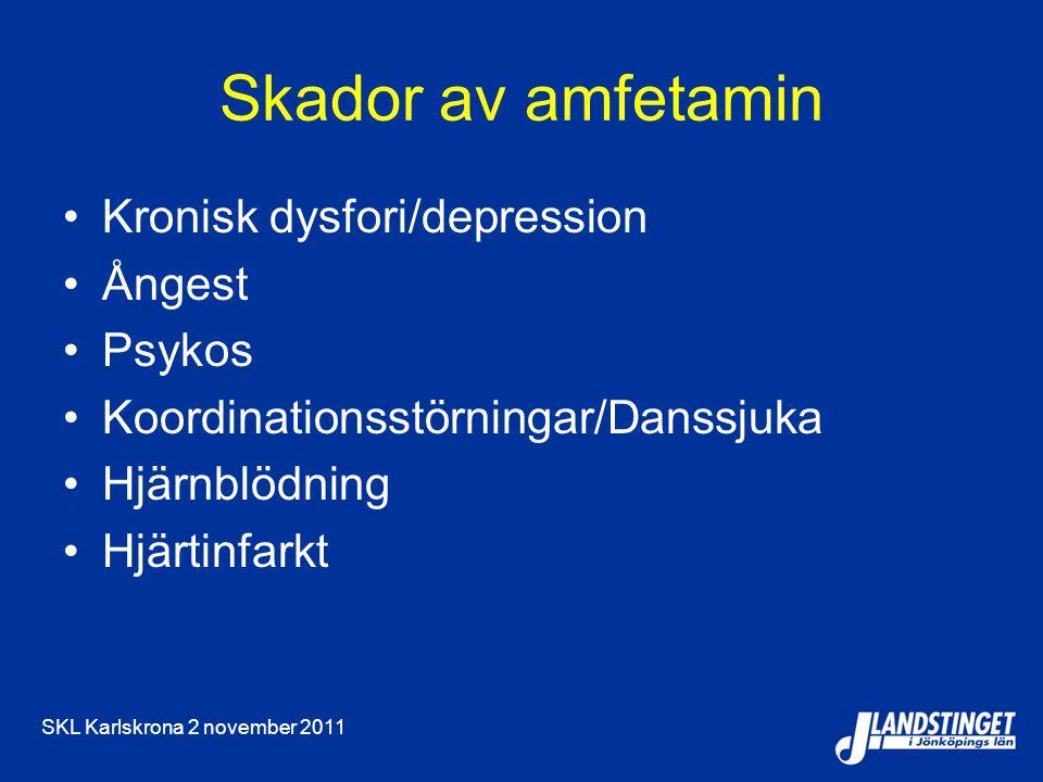 SKL Karlskrona 2 november 2011 Skador av amfetamin Kronisk dysfori/depression Ångest Psykos Koordinationsstörningar/Danssjuka Hjärnblödning Hjärtinfarkt