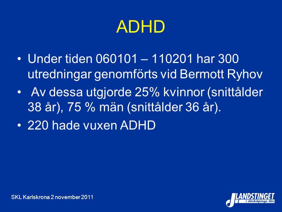 SKL Karlskrona 2 november 2011 ADHD Under tiden 060101 – 110201 har 300 utredningar genomförts vid Bermott Ryhov Av dessa utgjorde 25% kvinnor (snittålder 38 år), 75 % män (snittålder 36 år).
