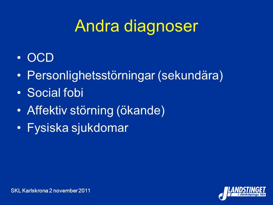 SKL Karlskrona 2 november 2011 Andra diagnoser OCD Personlighetsstörningar (sekundära) Social fobi Affektiv störning (ökande) Fysiska sjukdomar