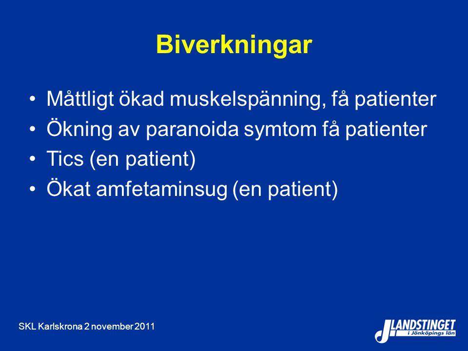 Biverkningar Måttligt ökad muskelspänning, få patienter Ökning av paranoida symtom få patienter Tics (en patient) Ökat amfetaminsug (en patient)