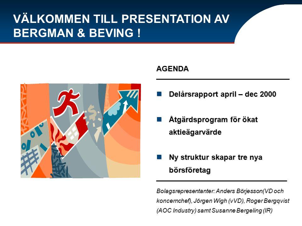 VÄLKOMMEN TILL PRESENTATION AV BERGMAN & BEVING ! AGENDA Delårsrapport april – dec 2000 Delårsrapport april – dec 2000 Åtgärdsprogram för ökat aktieäg