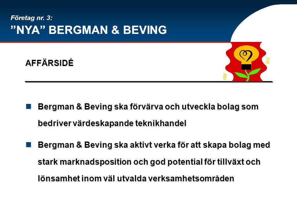 """""""NYA"""" BERGMAN & BEVING AFFÄRSIDÉ Bergman & Beving ska förvärva och utveckla bolag som bedriver värdeskapande teknikhandel Bergman & Beving ska förvärv"""