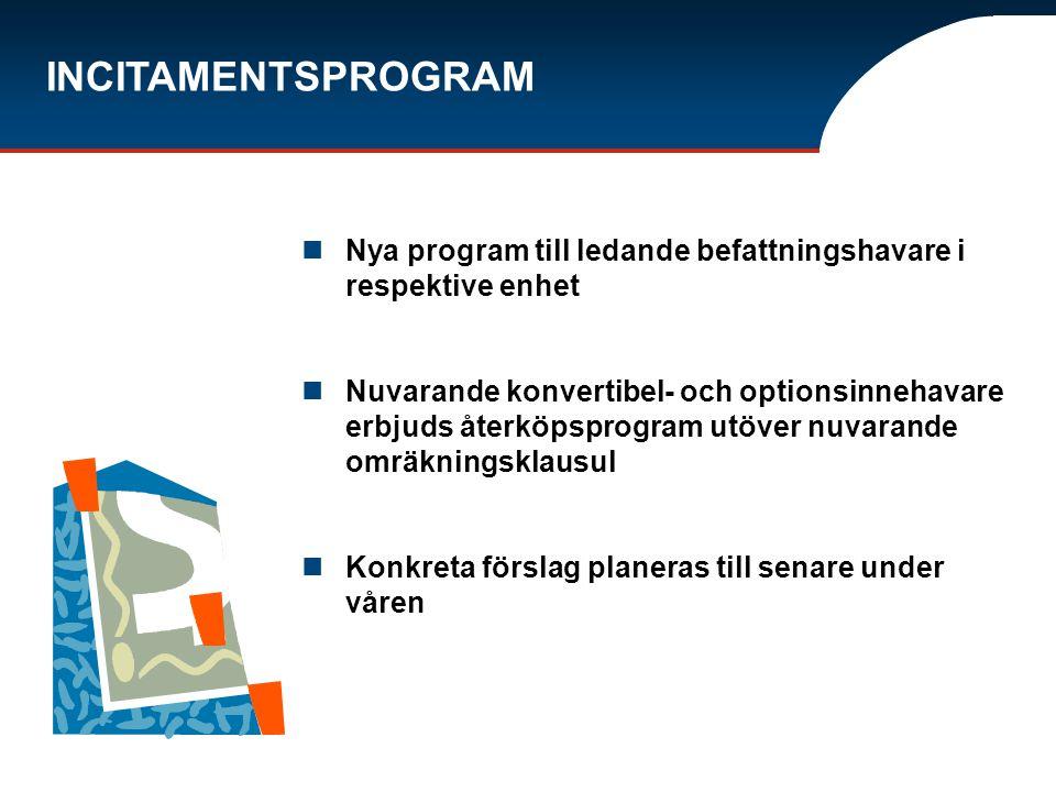 INCITAMENTSPROGRAM Nya program till ledande befattningshavare i respektive enhet Nuvarande konvertibel- och optionsinnehavare erbjuds återköpsprogram