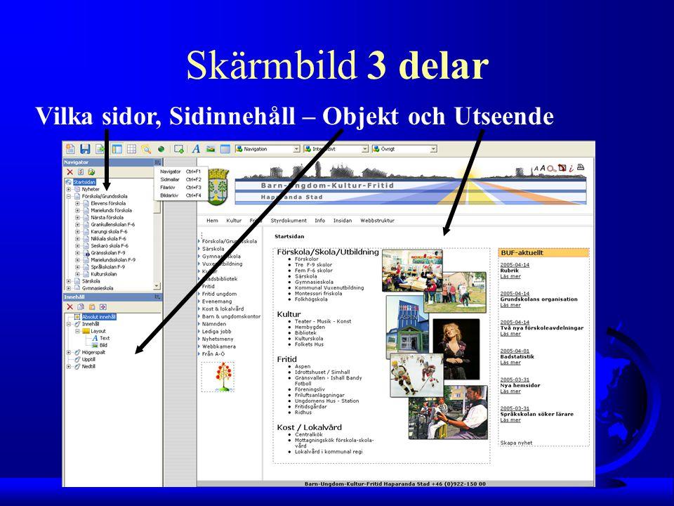 Vilka sidor, Sidinnehåll – Objekt och Utseende Skärmbild 3 delar