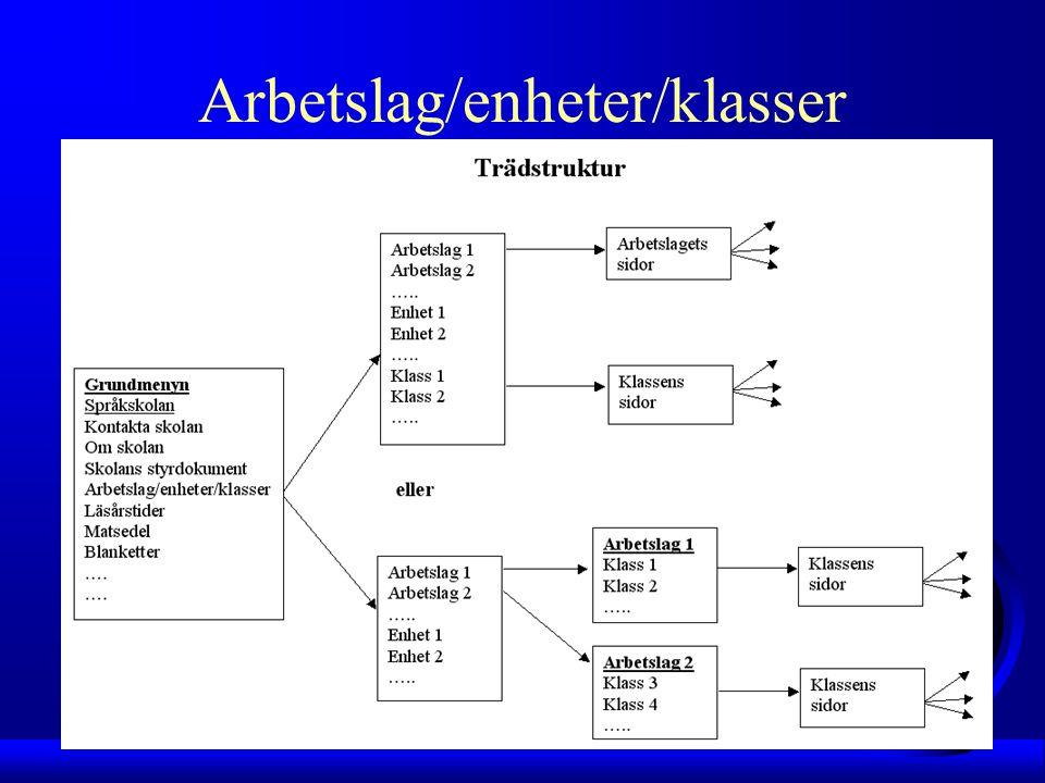 Arbetslag/enheter/klasser