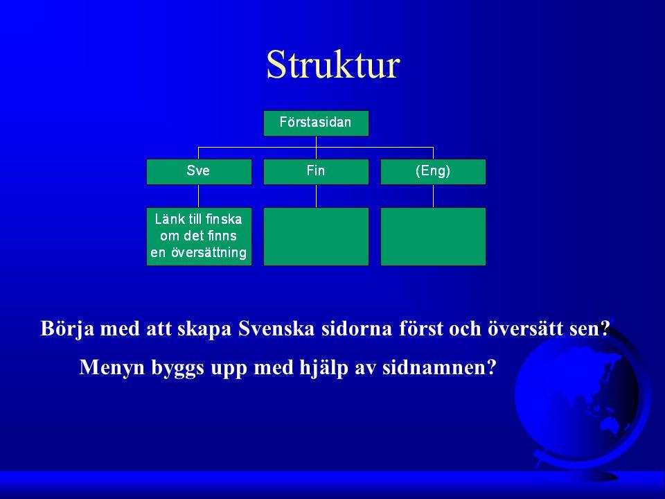 Struktur Börja med att skapa Svenska sidorna först och översätt sen.