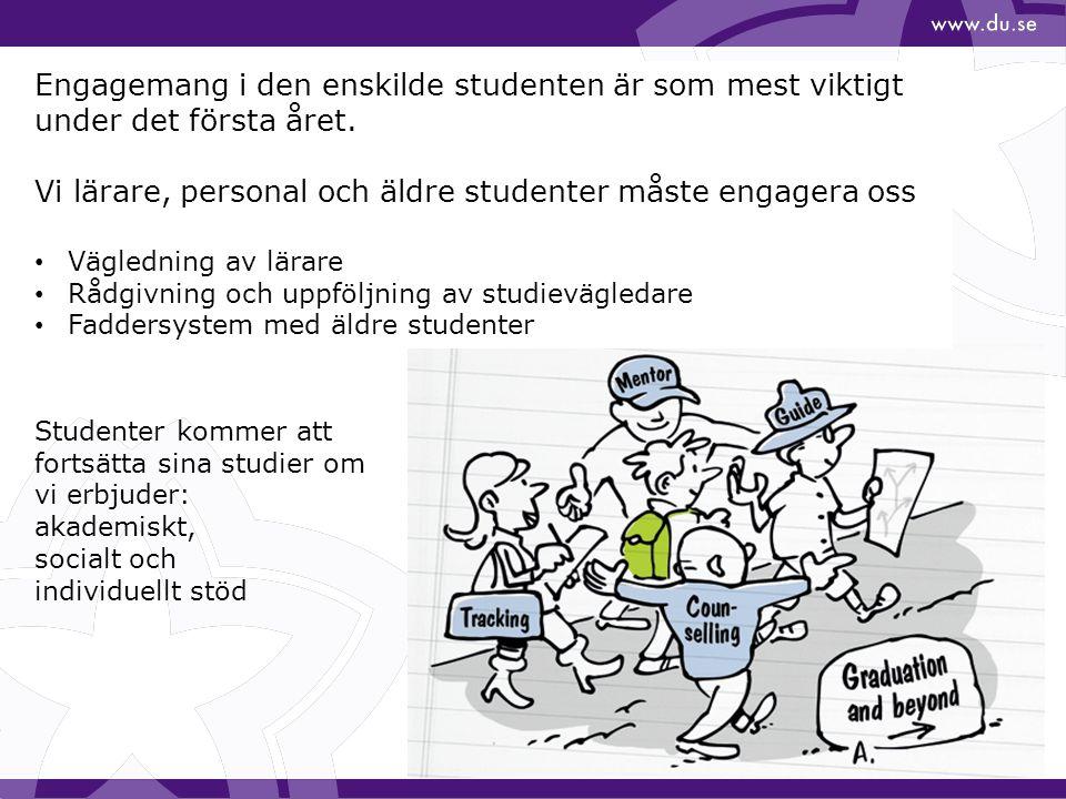 Engagemang i den enskilde studenten är som mest viktigt under det första året. Vi lärare, personal och äldre studenter måste engagera oss Vägledning a