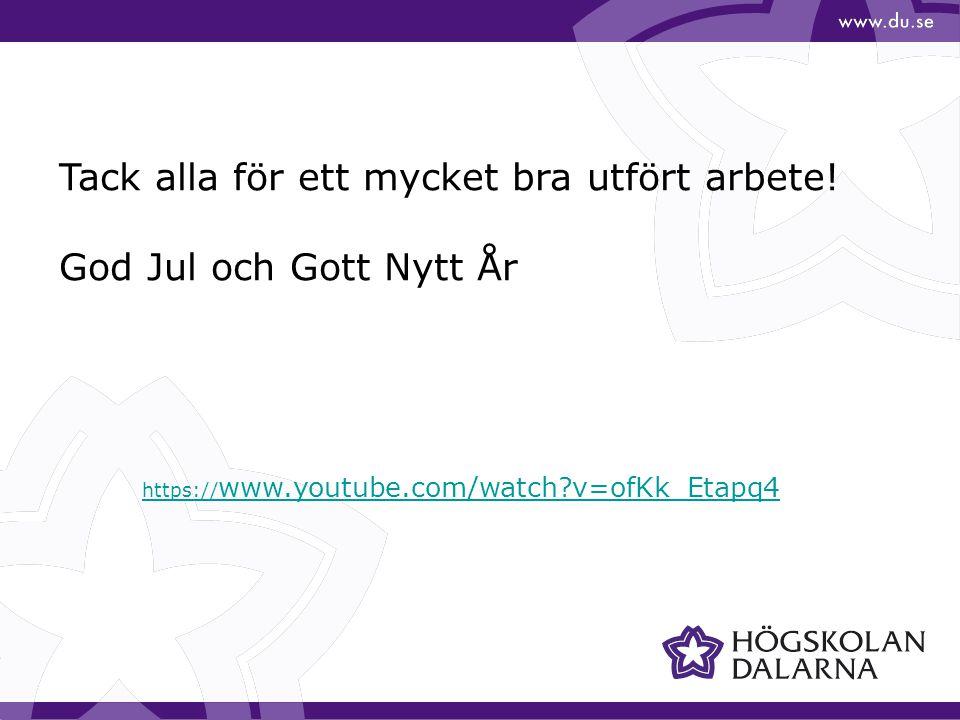 https:// www.youtube.com/watch?v=ofKk_Etapq4 Tack alla för ett mycket bra utfört arbete! God Jul och Gott Nytt År