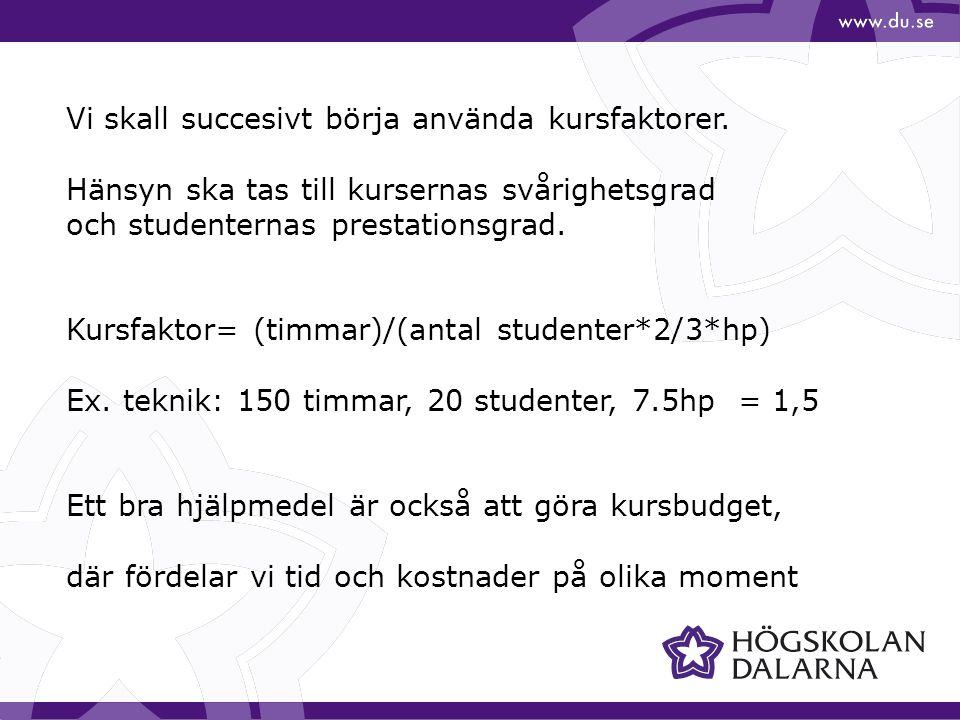 Vi skall succesivt börja använda kursfaktorer. Hänsyn ska tas till kursernas svårighetsgrad och studenternas prestationsgrad. Kursfaktor= (timmar)/(an
