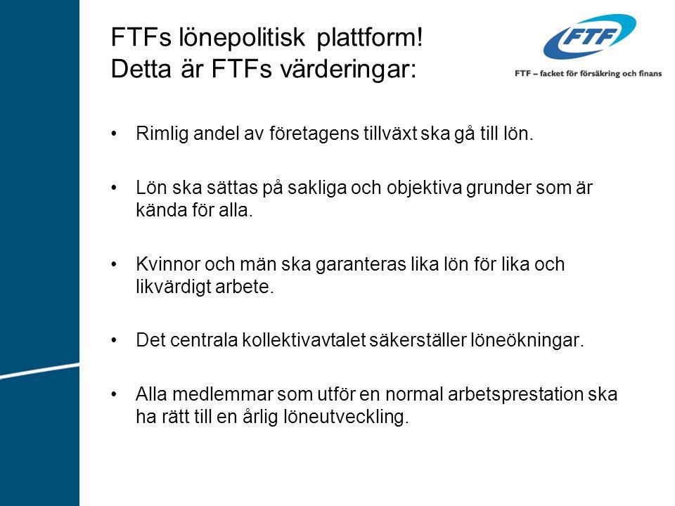 FTFs lönepolitisk plattform! Detta är FTFs värderingar: Rimlig andel av företagens tillväxt ska gå till lön. Lön ska sättas på sakliga och objektiva g