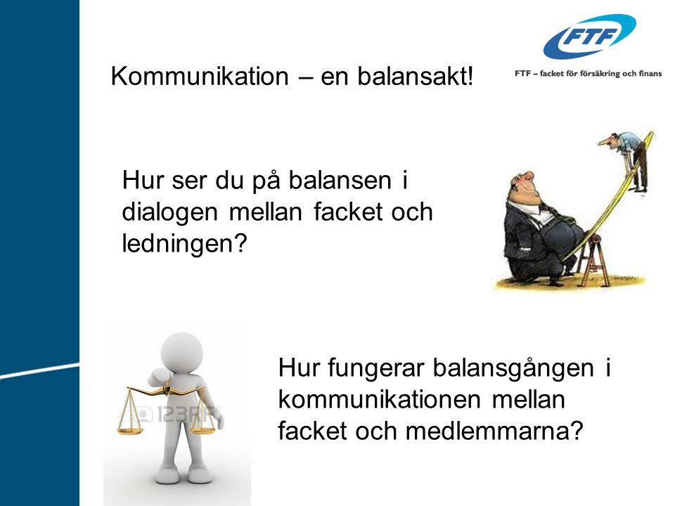 Kommunikation – en balansakt! Hur ser du på balansen i dialogen mellan facket och ledningen? Hur fungerar balansgången i kommunikationen mellan facket