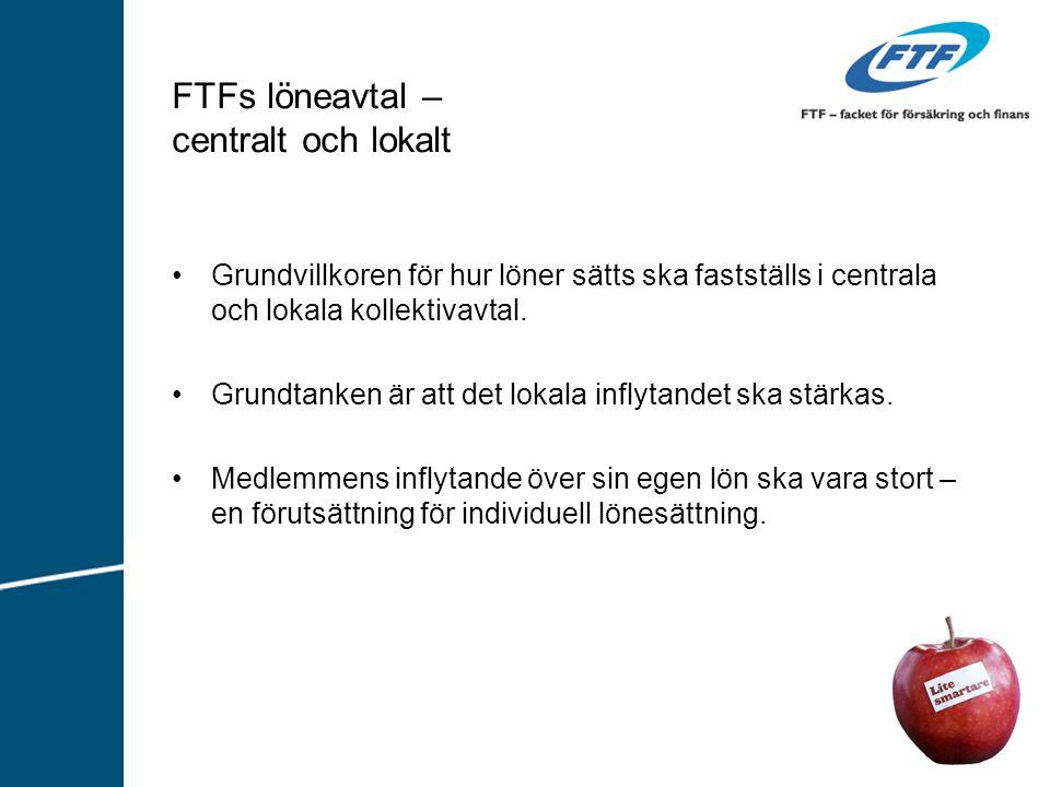 FTFs löneavtal – centralt och lokalt Grundvillkoren för hur löner sätts ska fastställs i centrala och lokala kollektivavtal. Grundtanken är att det lo